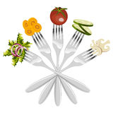 Isolated forks with vegetables Stock Photography