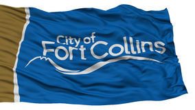 Isolated Fort Collins City Flag, United States of America. Isolated Fort Collins City Flag, City of Colorado State, Waving on White Background, High Resolution Stock Images