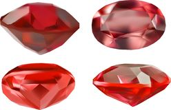 Isolated four red ruby gemstones illustration stock photography