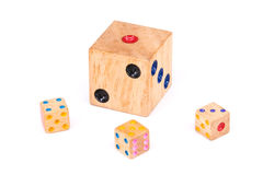 Isolated four wood dices Stock Photo
