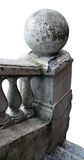 The isolated fragment of the old destroyed handrail of a stone l Stock Image