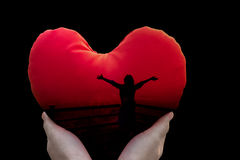 Isolated Freedom Silhouette Women In Red Heart On Black Background In Hands Royalty Free Stock Photos