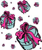 Gift Boxes Pattern Isolated. Isolated freehand illustration with blue boxes and pink ribbons. Stylish design of festive card, invitation, banner, wallpaper Royalty Free Stock Photos