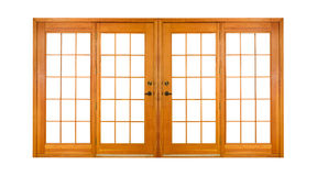 Isolated French Doors (clipping path). Double wooden doors isolated on white (clipping path Stock Photography