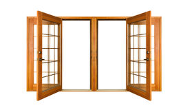 Isolated French Doors (clipping path). Open French doors isolated on white (clipping path Royalty Free Stock Images