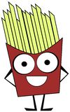cute French fries cartoon isolated Stock Photography