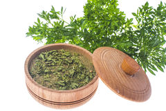 Isolated Fresh and dried ground parsley greens. Studio Photo Stock Image