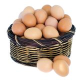 Isolated fresh eggs in wooden basket. Isolated fresh eggs in wooden basket, eggs in basket on white background Royalty Free Stock Photography