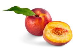 Fresh peach and half isolated on white background. Isolated fresh half peach red yellow white royalty free stock photos