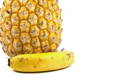 Isolated Fresh Pineapple and Bannana on White Stock Image