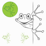 Isolated frog label. Vector illustration of frog labels Stock Photo