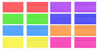 Isolated front and back of colorful blank envelope Stock Images