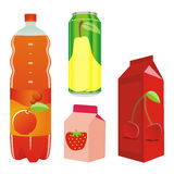 Isolated fruit juice recipients Stock Images