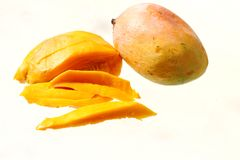 Isolated Fruit of Mangifera indica, Indian Senthoora mango Stock Images