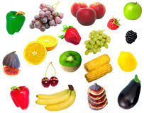 Isolated fruit and vegetables. The isolated fruit and vegetables Stock Image