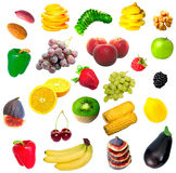 Isolated fruit, vegetables and nuts. (big collection Stock Image