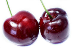Isolated fruits - Cherries. Fresh group cherries isolated on a white background Stock Image