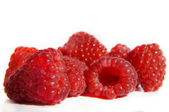 Isolated fruits - raspberries. Raspberries isolated on a white background Royalty Free Stock Photo