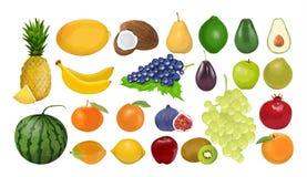 Isolated fruits set. Isolated fruits set on white background. Fresh and sweet fruits royalty free illustration