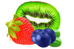 Isolated fruits. Strawberries, blueberries and kiwi isolated on. Fresh fruits strawberries, blueberries and kiwi isolated on white background as package design stock photo
