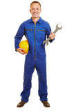 Isolated full body builder with helmet and boiler suit Stock Images