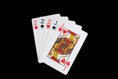 Isolated full house poker hand Royalty Free Stock Images