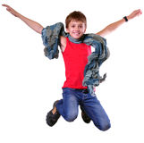 Isolated full length portrait of running jumping boy Stock Photo