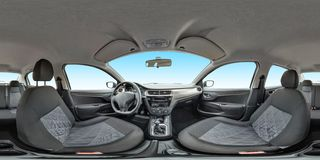 Isolated full seamless panorama 360 degrees angle view in interior leather salon of prestige modern car in equirectangular stock image