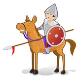 Isolated Funny Cartoon Knight on Smiled Horse Stock Photo