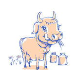 Isolated funny sketch cow for milk product. Cartoon cute cow. Use for child dairy products packaging, packaging of cheese, yogurt, or milkshake Vector Illustration