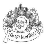 Isolated funny sketch hand-drawn cartoon of Santa Claus stock illustration