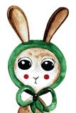 Lovely watercolor bunny in green shawl Royalty Free Stock Photos