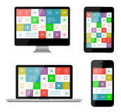 Isolated gadgets. With ui and web elements including flat design. EPS10 vector illustration Stock Image
