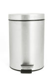 Isolated garbage bin with clipping path. Stainless steel garbage can on white Royalty Free Stock Photo