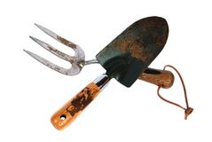 Isolated garden fork and trowel tools Royalty Free Stock Images