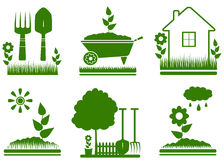 Isolated garden landscaping symbols Stock Photos