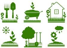 Isolated garden landscaping symbols. Set green isolated garden landscaping symbols Stock Photos