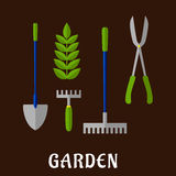 Isolated gardening tools flat icons Stock Image