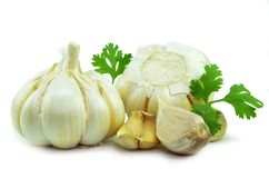 Isolated garlic and clove. On white background royalty free stock photos