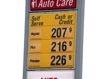 Free Isolated Gas Price Sign Royalty Free Stock Photography - 41867