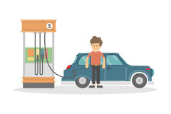 Isolated gas station. Isolated gas station o white background. Man refilling car with petrol. Funny smiling cartoon character Royalty Free Stock Image