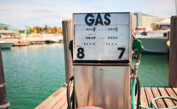 Isolated gas station on the pier Stock Images