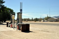 Isolated gas station on route 66. Old and isolated gas station on route 66 in the middle of a little village Stock Photo