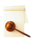 Isolated gavel and paper Stock Image