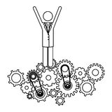 Isolated gear and businessperson design Royalty Free Stock Photography