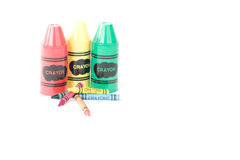 Isolated Generic Crayons with sharpeners. School supplies on a white background Stock Image