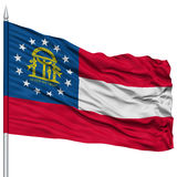 Isolated Georgia Flag on Flagpole, USA state Stock Image