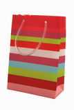 Isolated gift bag. A striped gift bag isolated on a white background Stock Image