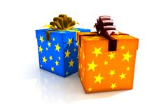 Isolated gift box. 3d illustration on white Stock Photography
