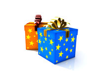 Isolated gift box. 3d illustration on white Royalty Free Stock Photo